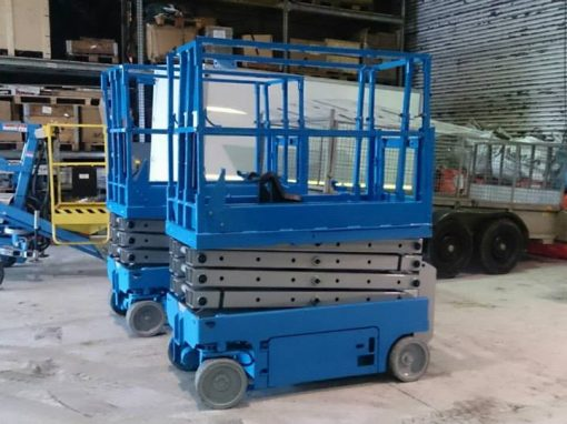 2 x Genie 19 32 Scissor Lifts after refurb waiting decals by Height Platforms www.heightplatforms.ie  1 510x382 - Service
