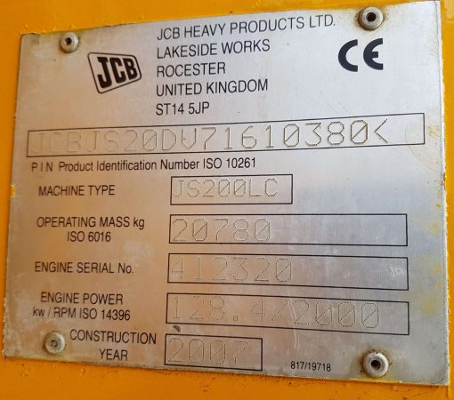 JCB JS200 For Sale