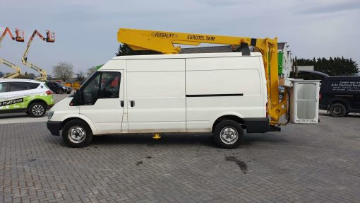 Left Side View- Versalift ET36NF on Ford Transit Van for Sale from Height Platforms - www.heightplatforms.ie