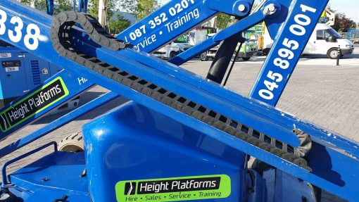 AB38 117HP left side close up - AB38 Battery Articulated Boom Lift for Sale from Height Platforms - www.heightplatforms.ie