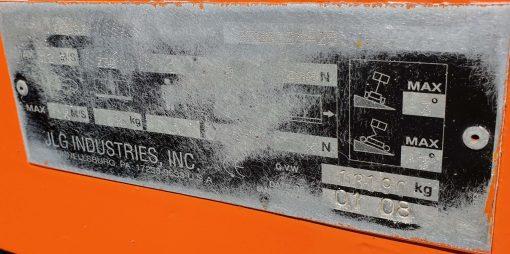 JLG 660SJ Serial Plate - JLG 660SJ
